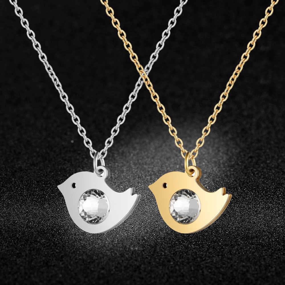 Super moda duże kryształowe kamienie 100% stal nierdzewna ptak naszyjnik charms moda naszyjnik charms s specjalny prezent hurtownia