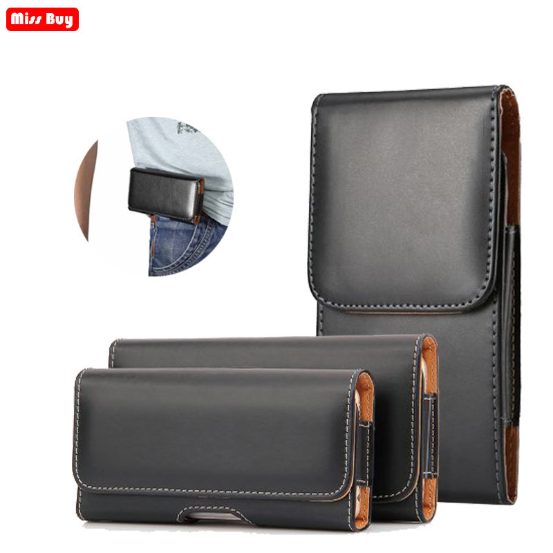 Missbuy Men Business Leather Phone Pouch for Huawei Honor 7C 7A Pro Y6 Prime 2018 Waist Bag Holster Belt Case For Y6 2018 Cover