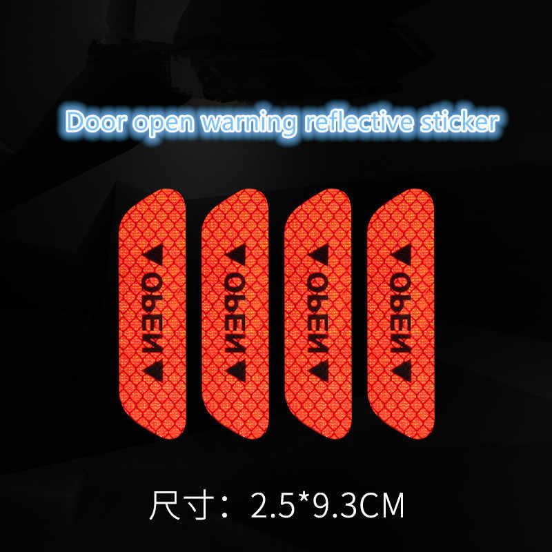 4 unids/set cinta reflectante de advertencia accesorios exteriores universales pegatinas de puerta de coche señal abierta tiras reflectantes de seguridad caliente