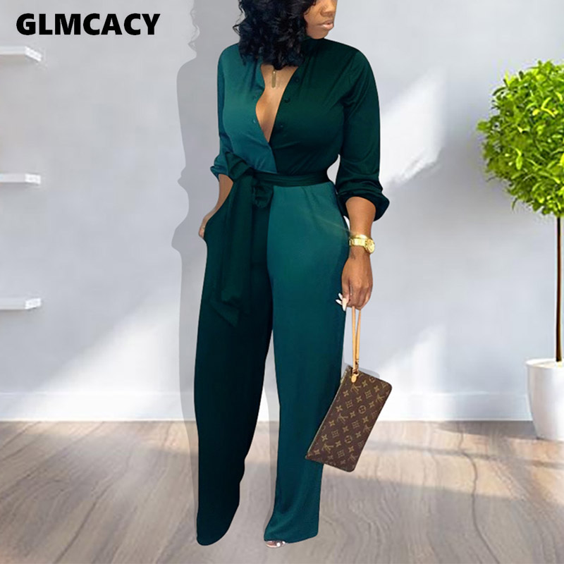 Women Casual Deep V-neck Patchwork Long Sleeve Jumpsuits Streetwear Loose Button Full Length Pants Women Jumpsuits