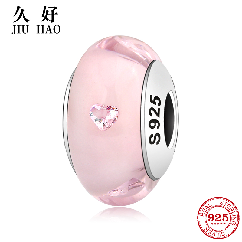 100% Authentic 925 Sterling Silver Pink heart Murano Glass Beads Fit Original European Charms Bracelet Jewelry(China)