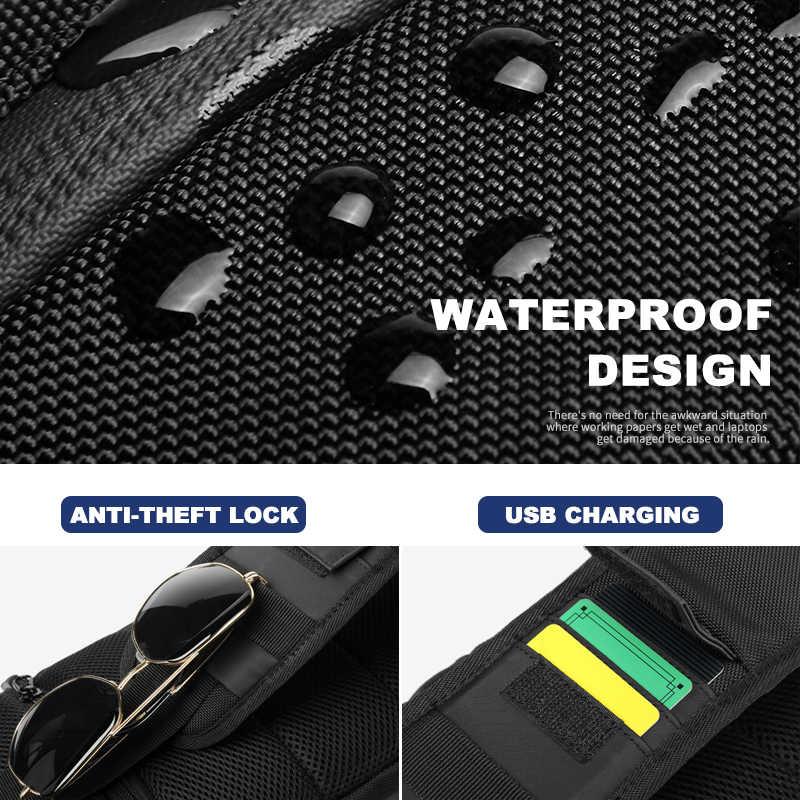 OZUKO torby crossbody dla mężczyzn moda torba listonoszka na ramię torba mężczyzna wodoodporna krótka nerka podróżna USB torba z paskiem na jedno ramię