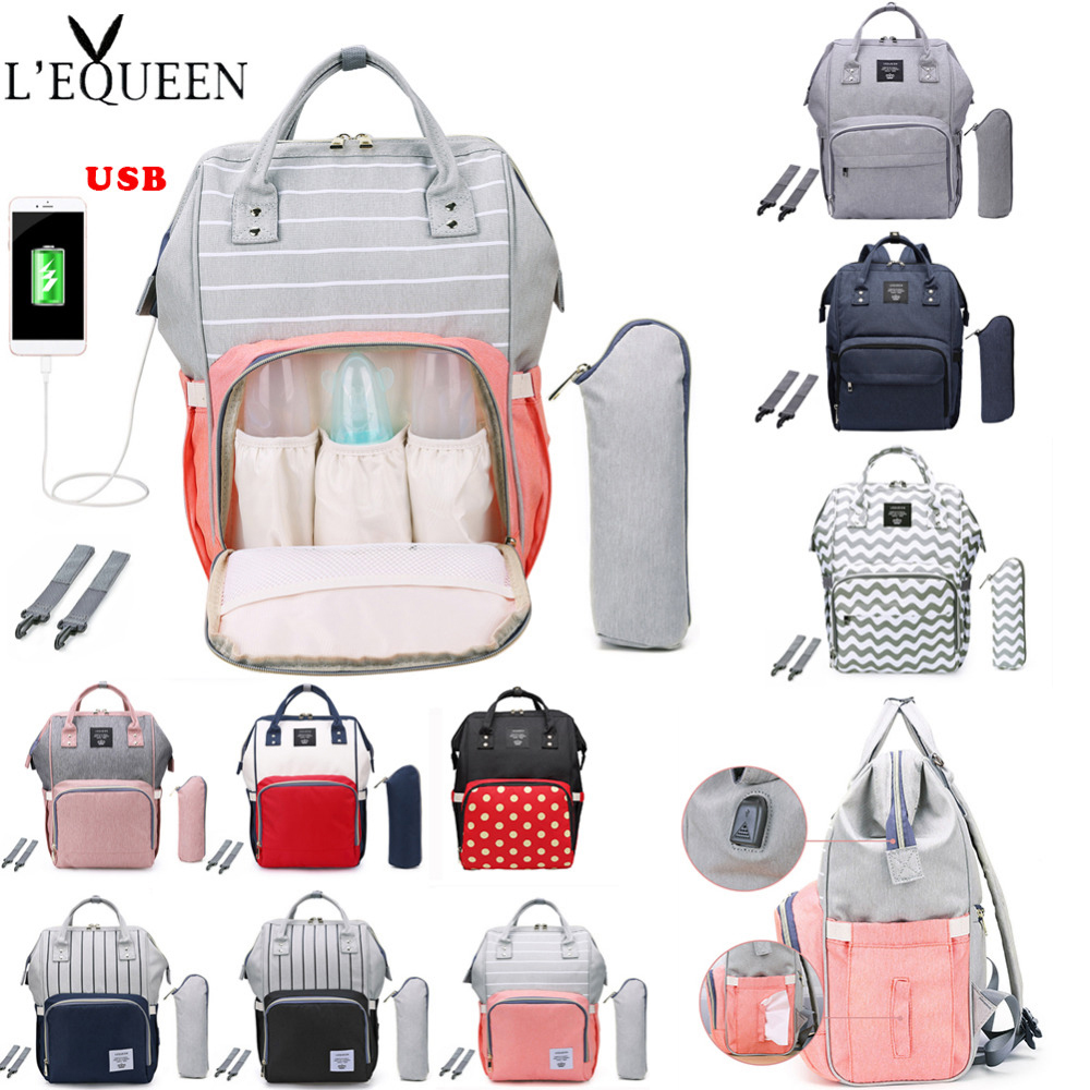 LEQUEEN Fashion USB Mummy Maternity Diaper Bag Stroller Baby Bag Baby Care Nappy Backpack Large Nursing Travel Backpack Designer
