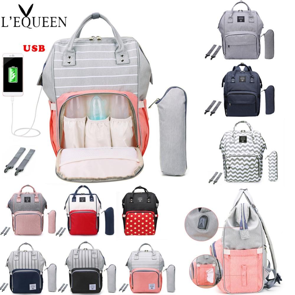 LEQUEEN Fashion USB Mummy Maternity Diaper Bag Stroller Baby Bag Baby Care Nappy Backpack Large Nursing Travel Backpack Designer