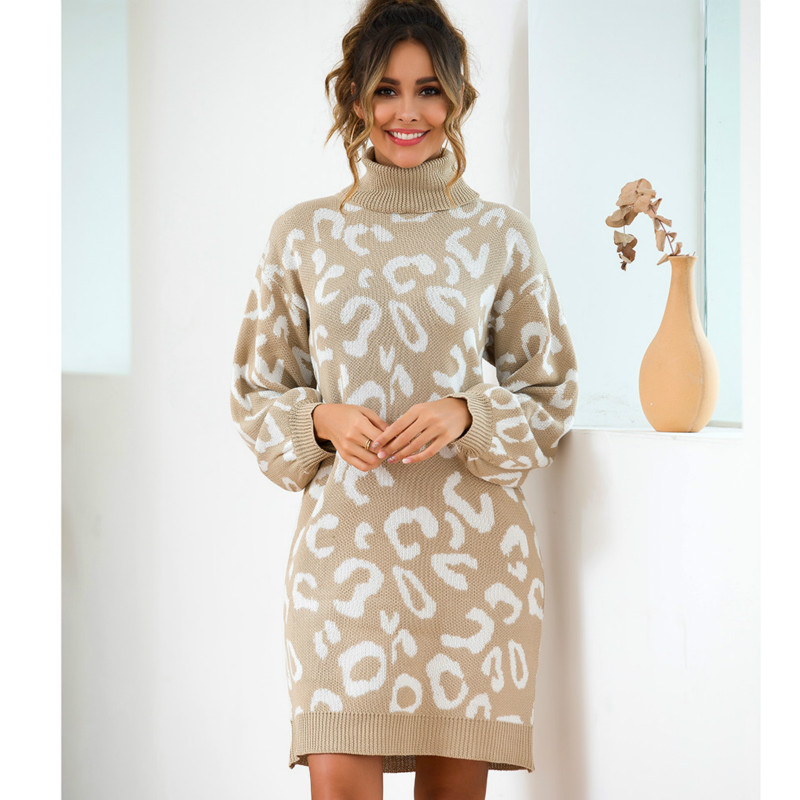 2019 New Fashion Women Leopard Autumn Outfit High Collar Knit Oversized Plus Size Sweaters Long Leisure Sweater