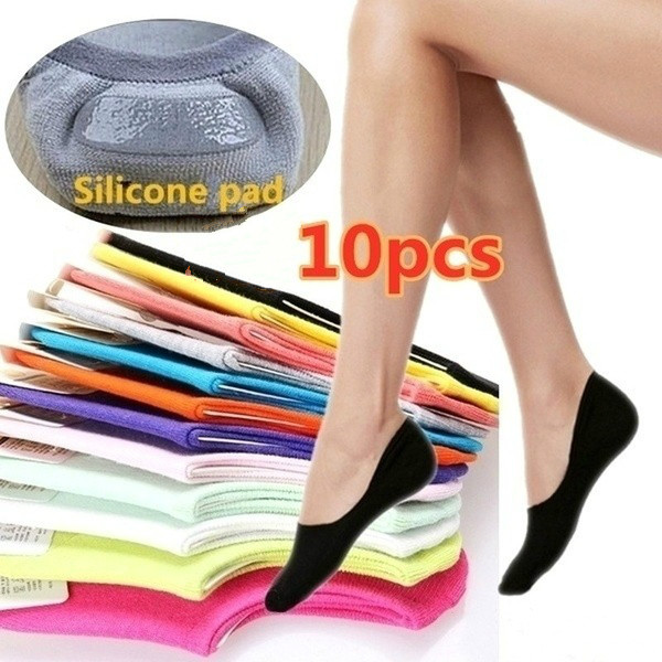 10 Pairs/pack Women's Net Socks Short Fashion Invisible Socks Brief Invisible Slippers Shallow Mouth No Show Low Cut Ankle Socks