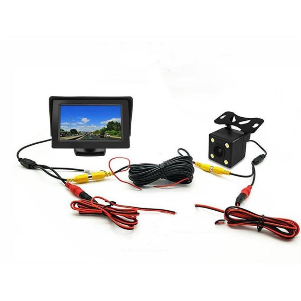 Kamera samochodowa 4.3 Cal + 4 lampa kamera cofania materiały eksploatacyjne Monitor samochodowy z wyświetlaczem kamera cofania zestaw obrazu cofania