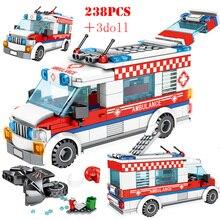 Città di Pizza Gelato Ambulanza Camion Veicolo Building Blocks Amici di Street View Figure Illumini Mattoni Giocattoli Per I Bambini Regali