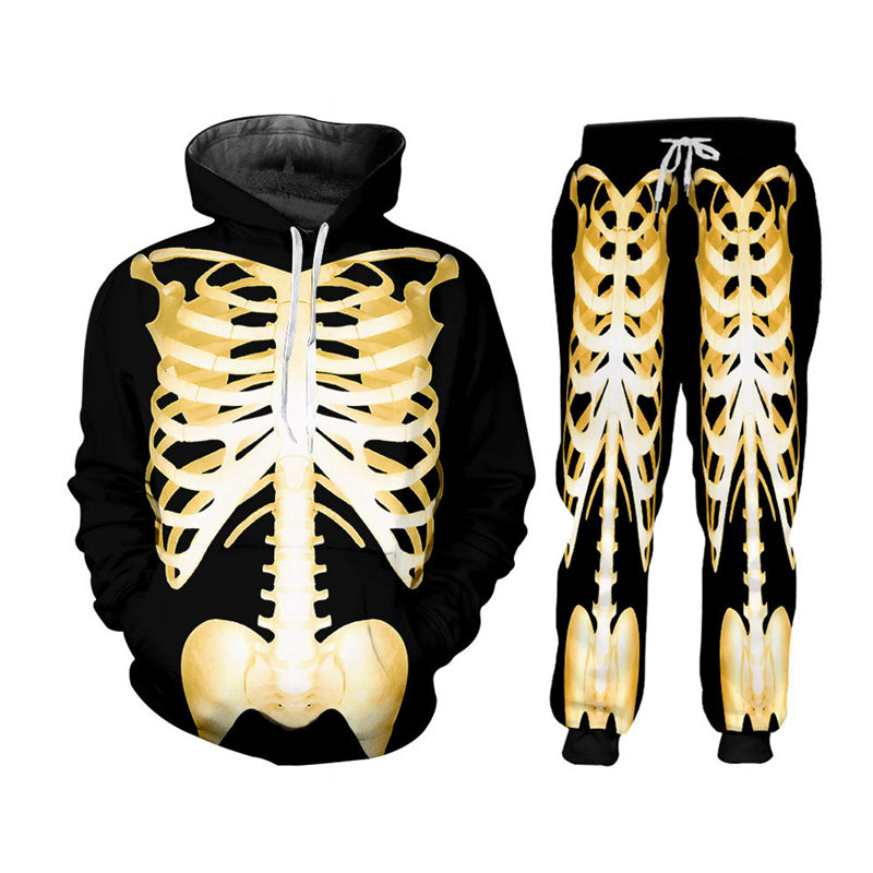 Custom S-7XL Skeleton Zipper Hoodie Jackets+Pants 2pcs Men's Sets Gothic 3D Gold Skull Print Unisex Sweatshirt Pants Sportsuit (3)