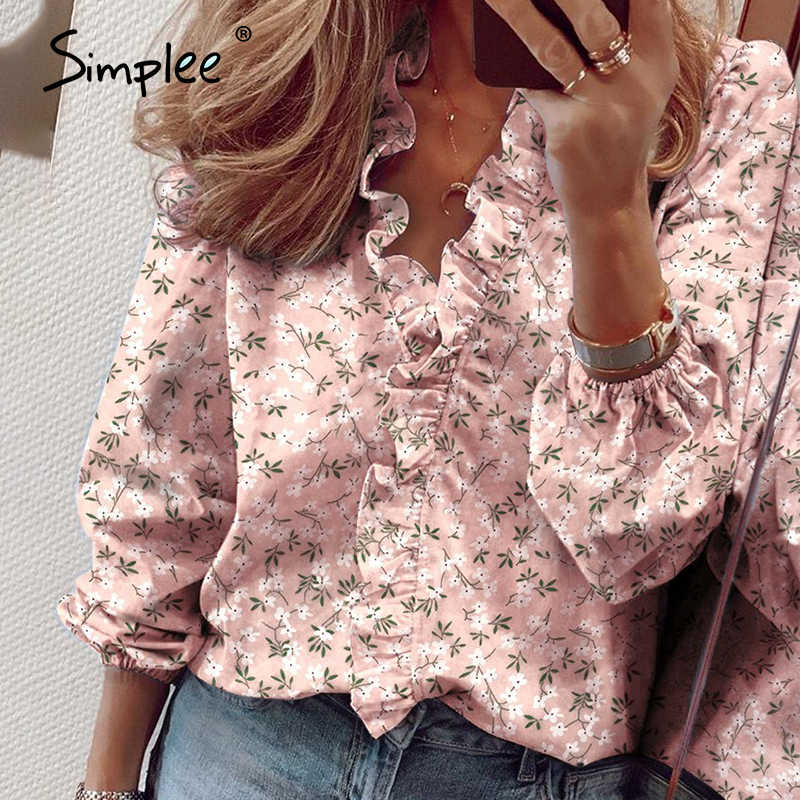 Simplee Ananas Print Ruffle Blouse Shirts Vrouwen Zomer Korte Mouw Sexy Slanke Blouses Casual Letters Office Tops Plus Size