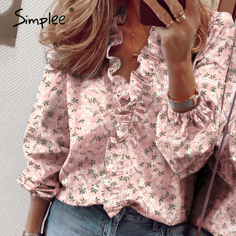 Simplee Pineapple Print Ruffle Blouse Shirts Women Summer Short Sleeve Sexy Slim Blouses Casual Letters Office Tops Plus Size