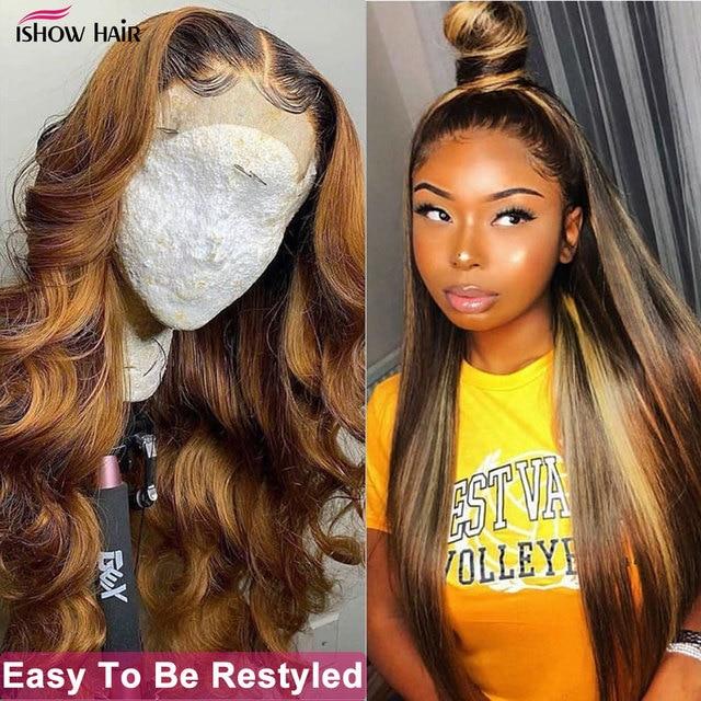Ishow destaque peruca marrom colorido perucas de cabelo humano 13x4 13x6x1 ombre reta peruca dianteira do laço destaque perucas de cabelo humano frente do laço 3