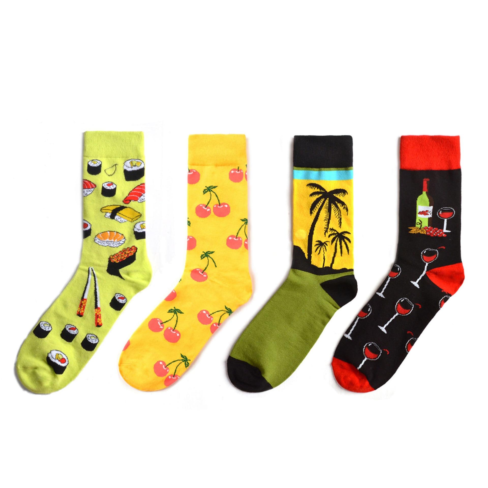 Hot Fashion Men's Long Socks Harajuku Hip Hop Funny Cherry Banana Sushi Pattern Cool Colorful Dress Socks For Male Wedding Gifts