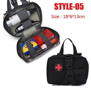 Hunting Survival First Aid Bag Outdoor SOS Pouch Army Tactical Waist Bag Medical Kit Bag Molle Belt Backpack EDC Emergency Pack 6
