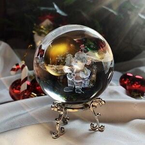 H & D 3D Klar Kristall Ball mit Stand Figur für Kinder Geschenk Glas Kugel Dekoration Weihnachten (Santa claus, 60mm/2,36 zoll)