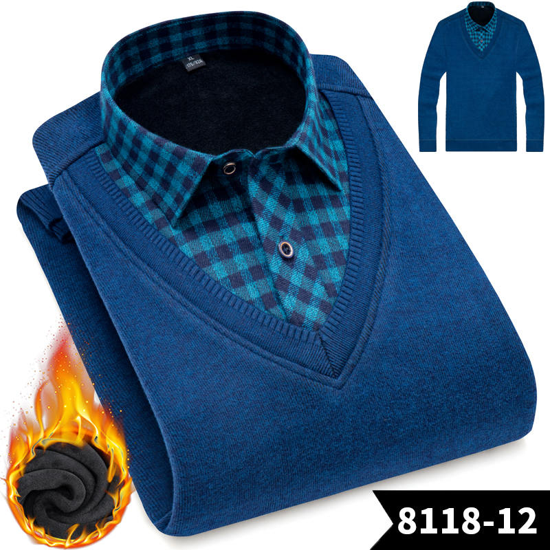 Image 4 - New Fashion Men Shirts Fake two pieces pieces Thicken Winter Cool Men's Shirt Plus velvet Casual Plaid Warm Man Shirt YN10520-in Casual Shirts from Men's Clothing
