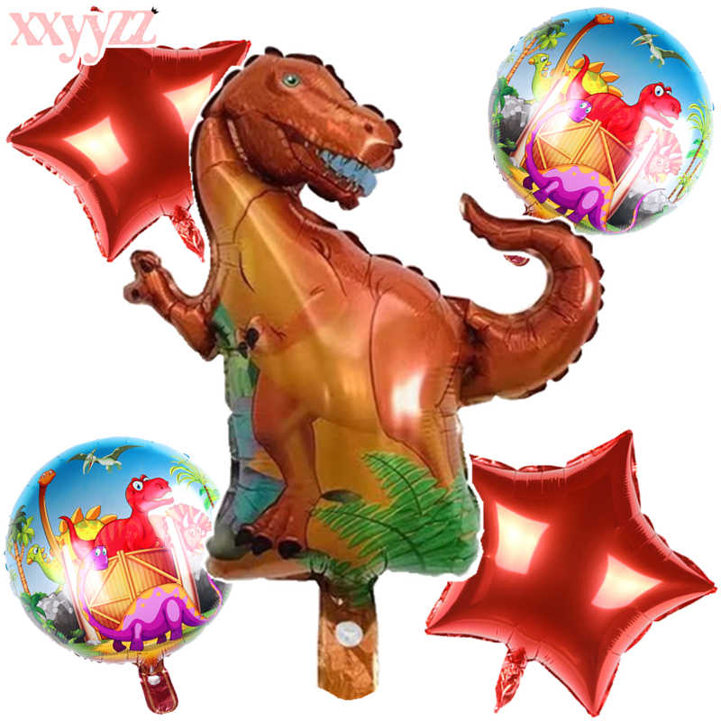 XXYYZZ Dinossauro Animais Folha De Alumínio Balões da Festa de Aniversário Decoração Balão Balão Digital de Brinquedo das Crianças do Mundo Jurássico