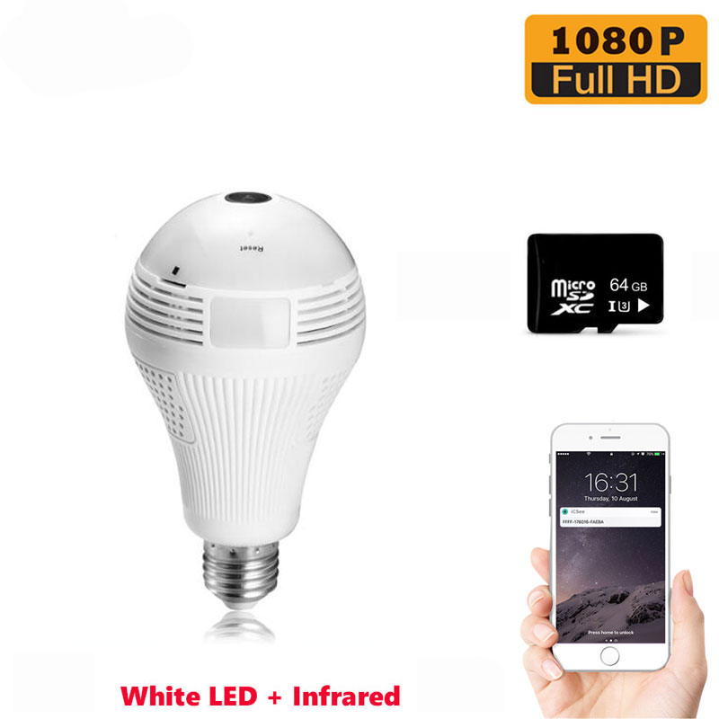 360 Degree Light Bulb Lamp Camera Infrared E27 Security Surveillance Indoor Monitor 64G SD Card Included