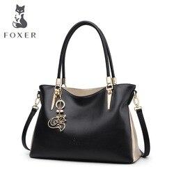 FOXER Брендовая женская сумка из воловьей кожи и сумка на плечо, женские модные сумки, женские сумки через плечо