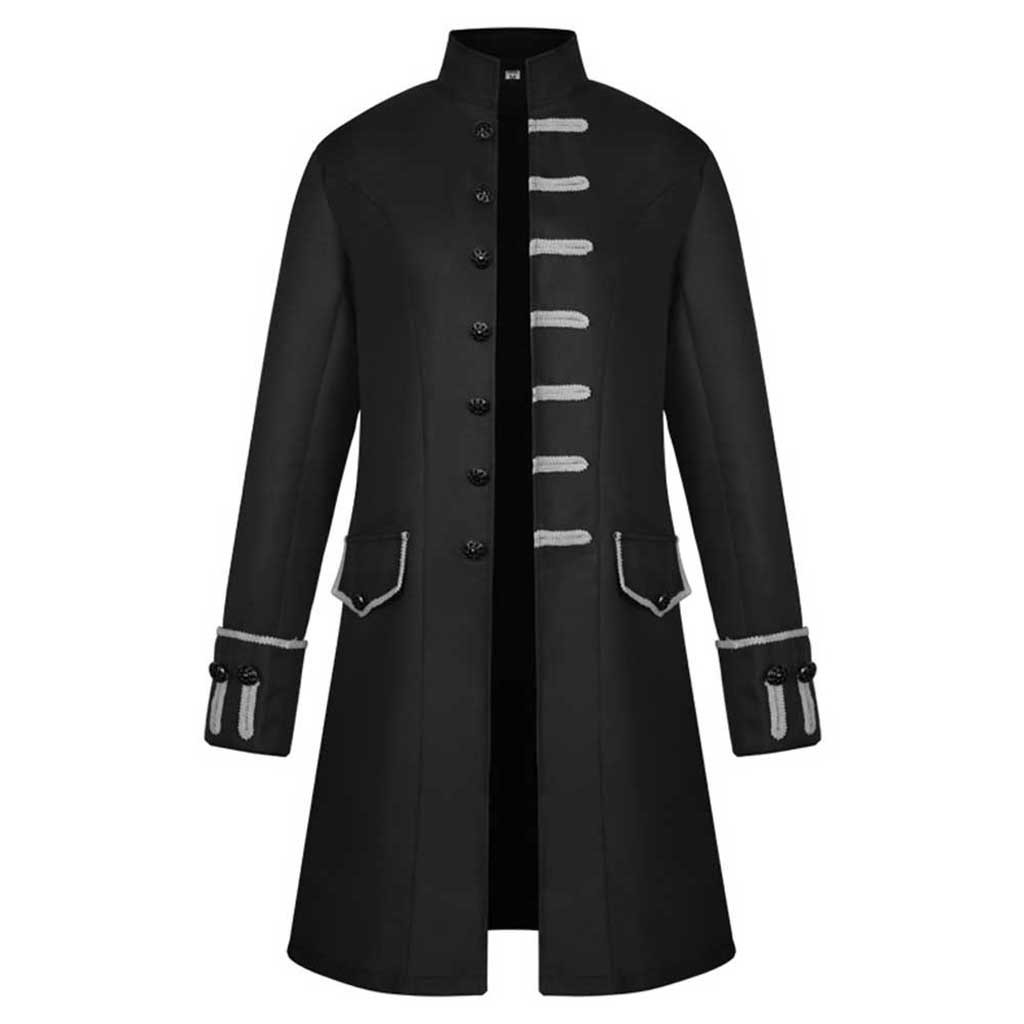 H6651863f7a534281a6794fdb72158ec0J Men Trench Coat Steampunk Jacket Medieval Costume Men Long Sleeve Gothic Brocade Jacket Frock Vintage Stand Collar Men's Coat