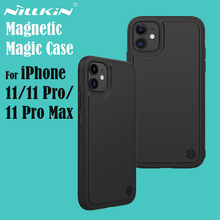 Nillkin capa mágica para iphone 11, 11 pro max, carregamento sem fio, couro sintético, cobertura com suporte