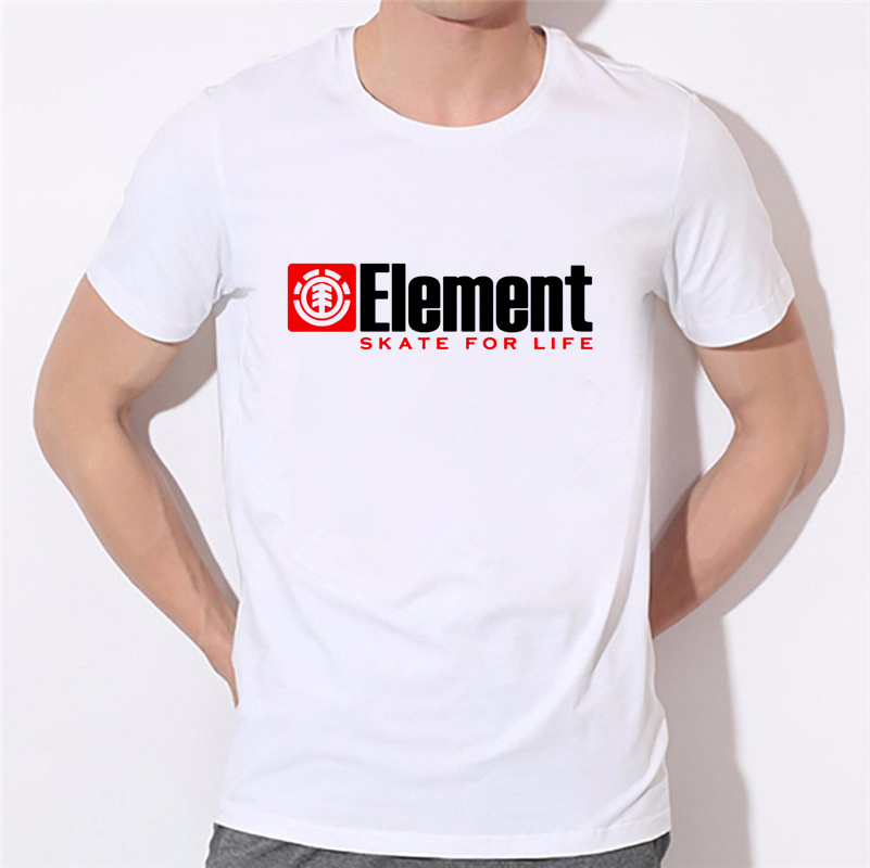 Skater T Shirt Element T-shirt Men White Clothes Skate For Life Tops & Tees Simple Letter Tshirt Custom Cotton Element T-shirt