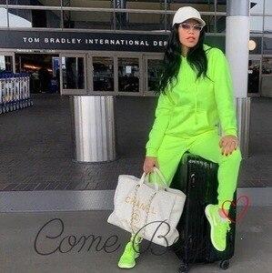 Image 4 - Женский спортивный костюм ZOGAA, комплект из двух предметов, толстовка с капюшоном и штаны, флуоресцентный зеленый костюм