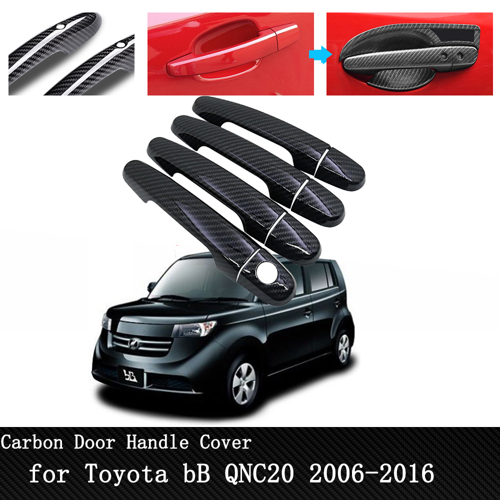 Car Protective Cover Stickers Exterior Door Handle Cover For Toyota BB QNC20 2006~2016 Black Carbon Fiber Car Accessories