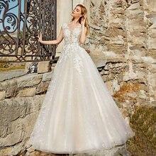 Очаровательное Тюлевое свадебное платье трапеция с глубоким