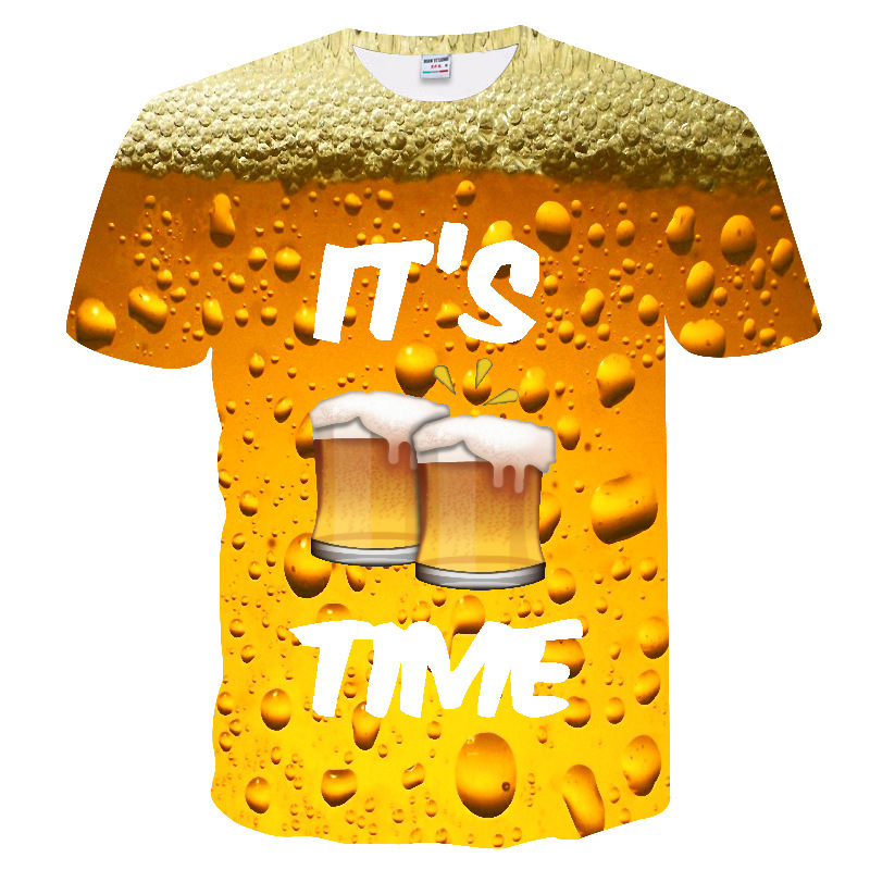 3D T shirt Men's Casual Tee shirts Funny Beer Print T-shirt Men Summer style Party tops Couple Elasticity t shirt Street Wear