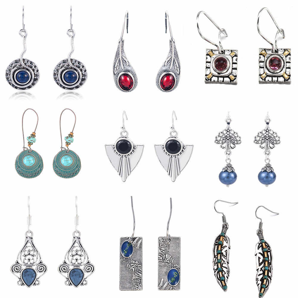 Vintage Boho India Ethnic Water Drip Hanging Dangle Drop Earrings for Women Female 2019 New Wedding Party Jewelry Accessories