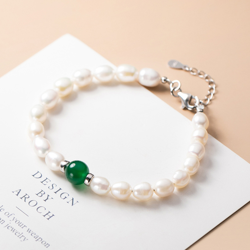 Charm 925 sterling silver Genuine Natural Freshwater Pearl Bracelets Bangles For Women with Classic Fashion White Pearl Jewelry