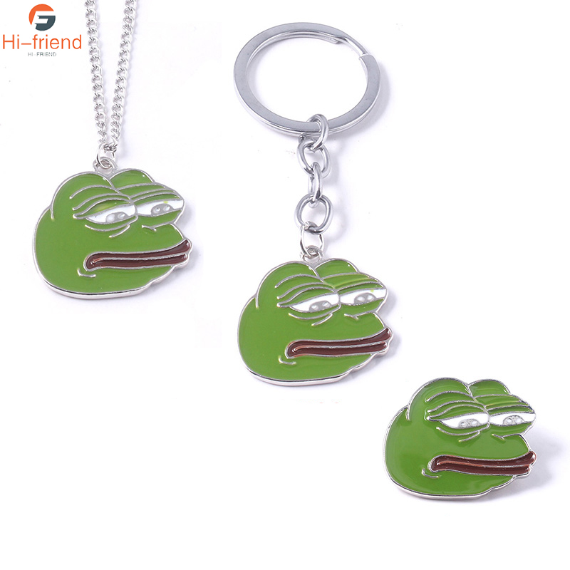 Sad frog Pepe Brooches Green Color Frog Cartoon Enamel Pins Set LapelBoy's Club Personality Jewelry For Man Woman Crying Frog(China)