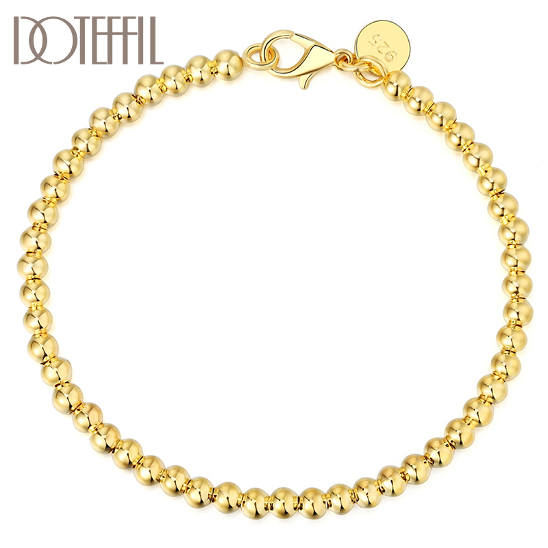 DOTEFFIL 925 Sterling Silver Hollow 4mm Rose Gold Smooth Bead Chain Bracelet For Women Wedding Engagement Party Fashion Jewelry