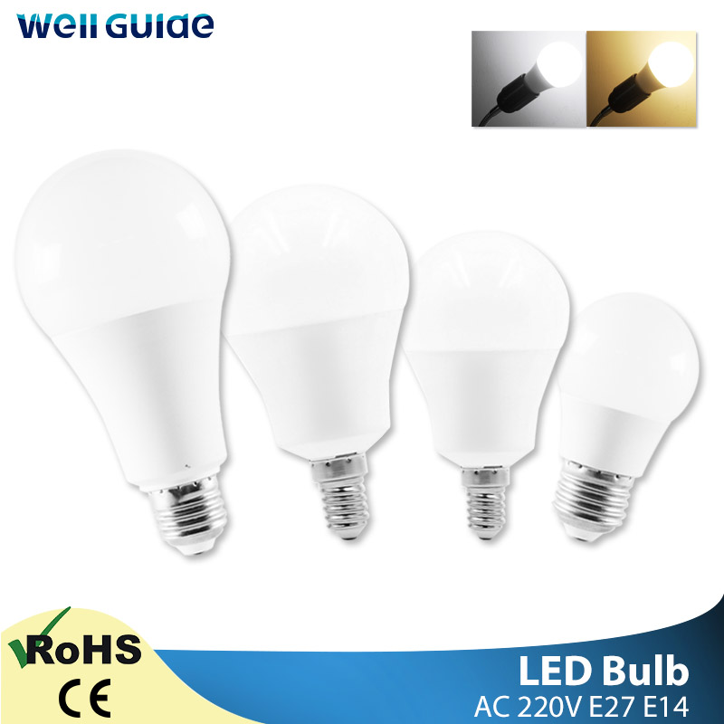 1/10PCS LED Bulb E27 E14 Lamp 3W 6W 9W 12W 15W 18W 20W LED AC 220V 240V Light White Lampara Aluminum Table Lamps Light Bombillas