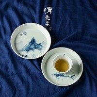 Jindezhen Hand Blue And White Ceramics Pot Bearing Eight Atlas Do Blister Disc Tea Tray Pot Pad Tea Table Collocation Tea