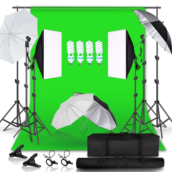 2.6M x 3M/8.5ft x 10ft Background Support System 135W 5500K Umbrellas Softbox Continuous Lighting Kit for Photo Studio Shoot