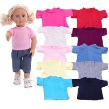 Boneca roupas camiseta cor sólida para 16-18 Polegada boneca & 43 cm bebê nascido boneca & nenuco, nossa geração, bebe renascer, brinquedos para meninas