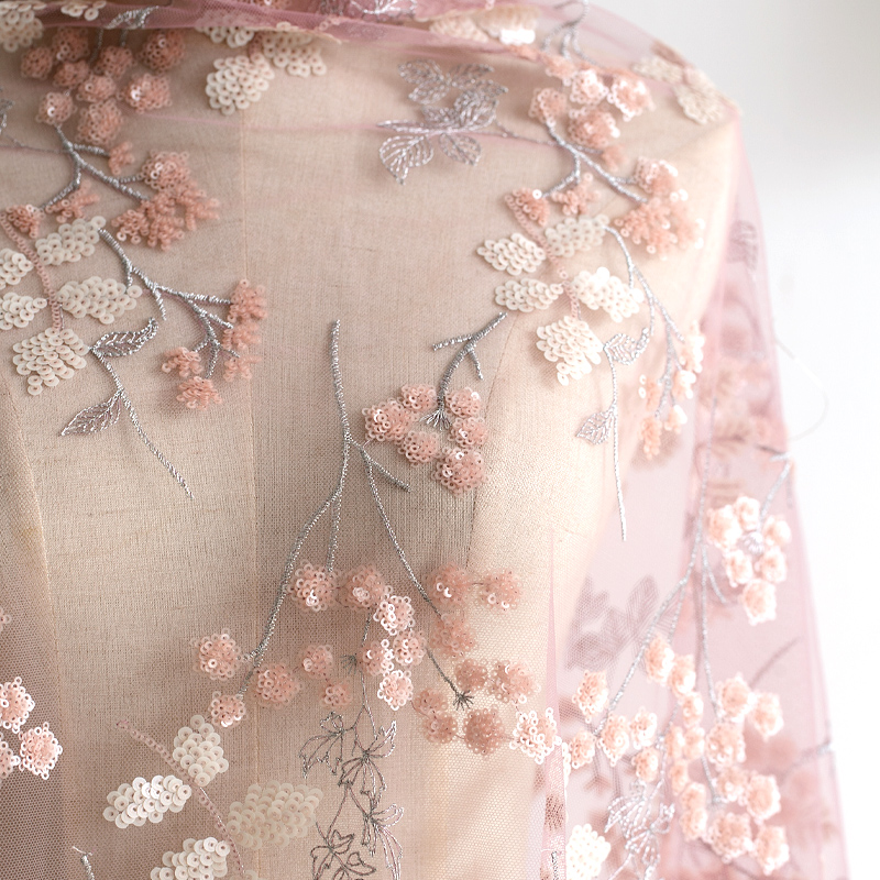 Heavy mesh high quality beige tulle flower embroidered lace fabric floral ball gown floral wedding dress lace top baby dress 51 width