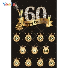 Yeele 60th Birthday Backdrop Wine Shining Diamond Golden Crown Black Photography Background Custom Vinyl For Photo Studio Props