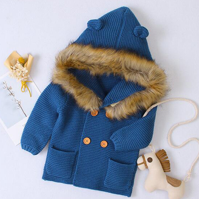 2020 New Winter Baby Boys Girls Knitted Cardigan Jackets Autumn Warm Infant Baby Fur Hooded Sweaters Kids Long Sleeve Coat 5