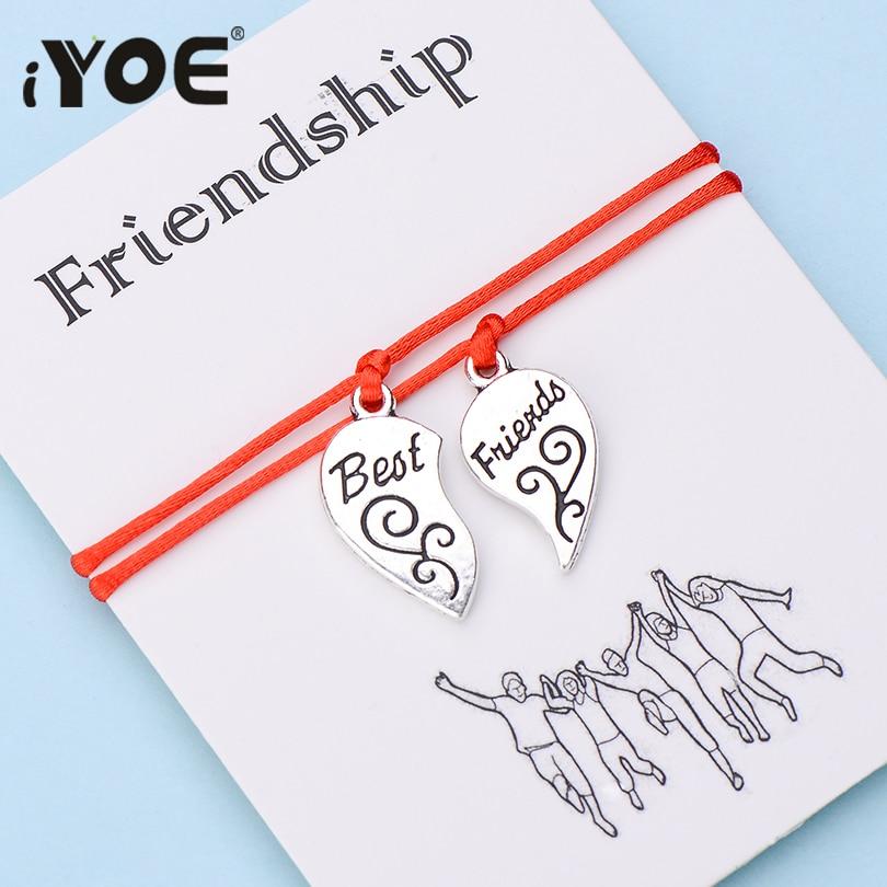 IYOE 2pcs/set Wish Card Friendship Red Thread Bracelets For Women Men Kids Best Friends Heart Bracelet DIY Customize Gift Charm Bracelets    - AliExpress