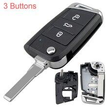 3 düğme araba Styling çevir katlanır anahtar Fob akıllı otomatik anahtar kabuk değiştirme VW Volkswagen Golf 7 için MK7 Skoda octavia A7 koltuk