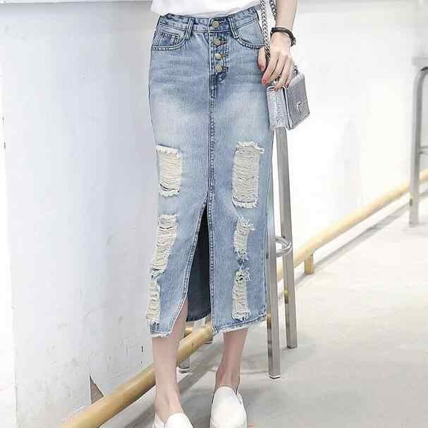 2019 wiosna lato jesień kobiety długa spódnica denim maxi plus size spódnice w stylu vintage jeans Hem podział spódnice ołówkowe DC453