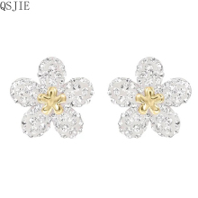 High-quality 1:1 Swa New Charm Zircon Tetrafolium Plant Temperament Woman Earrings