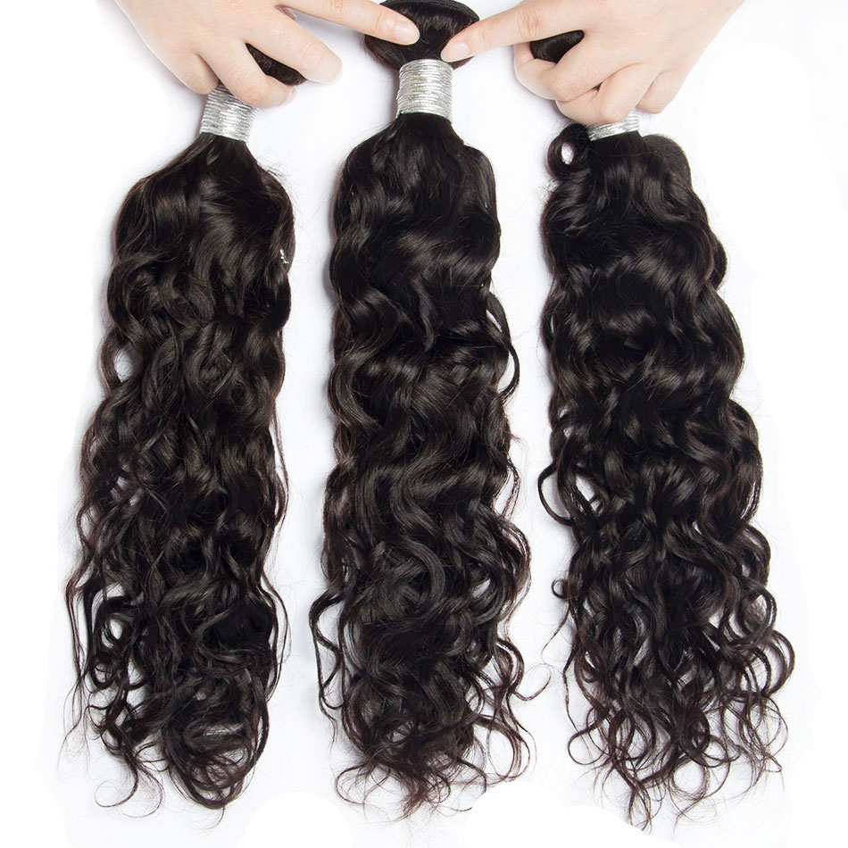 Indian Water Wave Human Hair 3 Bundles Deals 100 Indian Hair Weaves Double Weft Natural Remy Hair Extensions 8-30 Inch