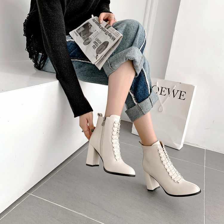 Tanariya ใหม่มาถึงรองเท้าผู้หญิงรองเท้าผู้หญิงสายคล้องคอ Zip สแควร์ chunky รองเท้าส้นสูงข้อเท้ารองเท้า Nude รองเท้า COMMUTER รองเท้าแฟชั่น