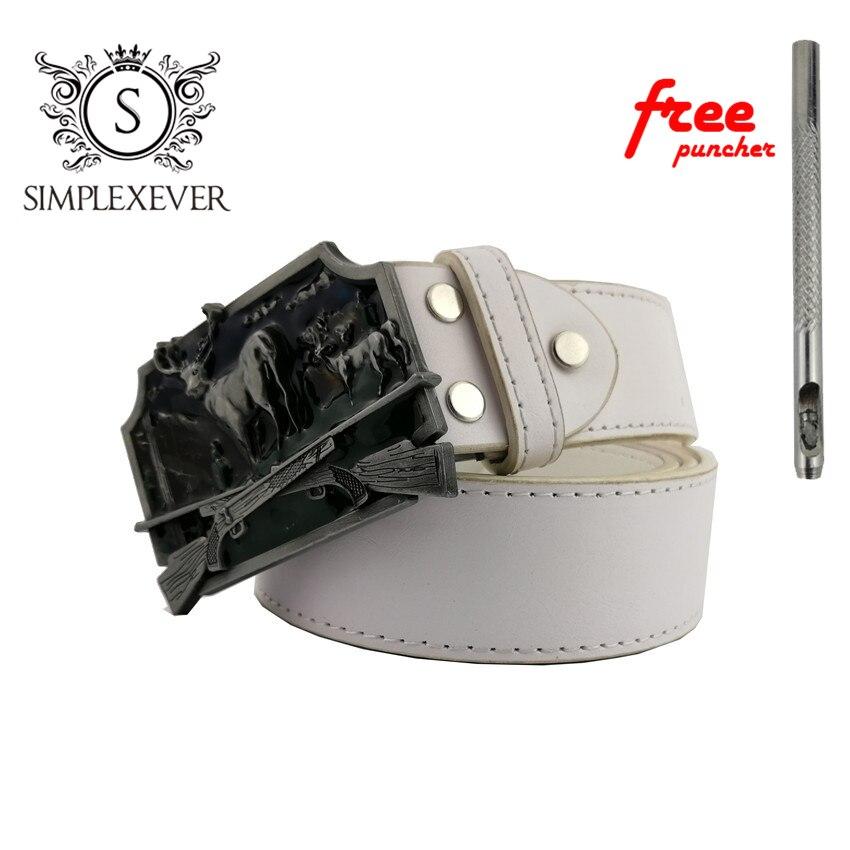 Men's Silver Deer Belt Buckle Cowboy Metal Animal Belt Buckles Suit 4cm Belt Men's Jeans Accessories