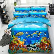 Goldeny 4 Parts Per Set Tropical Fish and Coral Reef 3d marine bedding set Popular Children Bedding Sets