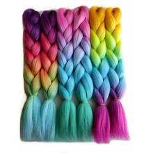 Pervado włosów 16 #8222 100g Yaki Jumbo plecionki syntetyczne włosy plecione warkocz z włosów różowy Rainbow Ombre szydełka Bob warkocze dla dzieci kobiet tanie tanio Pervado Hair Wysokiej Temperatury Włókna Jumbo Braid 1 nici opakowanie